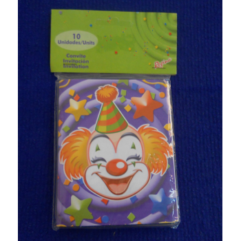 code 073425-  Invitation Clowns  - set of 10