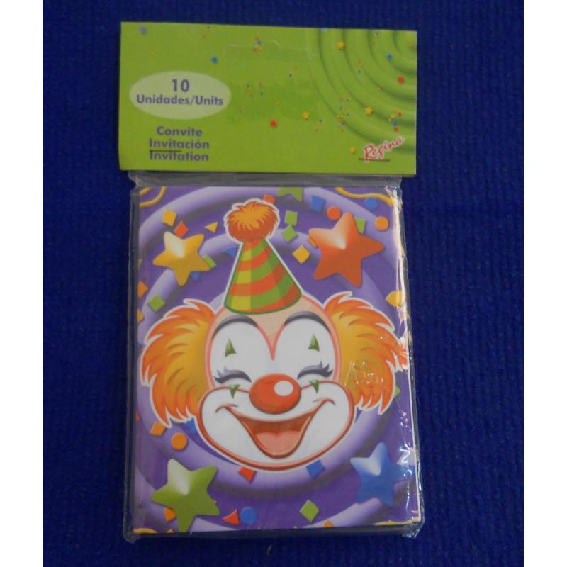 code 073425-  Invitation Clowns  - set of 10