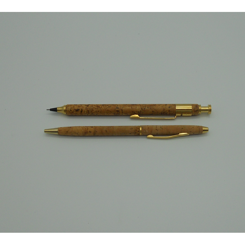 ref.071822/23- Conjunto caneta e lapiseira em pele de cortiça