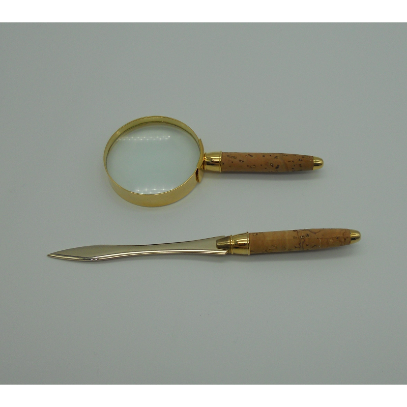 code 071206/07- Cork leather letter opener and magnifying glass set
