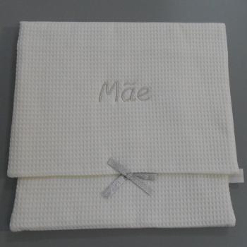 """ref.050808-AG-B720-Bolsa de lingerie em favo branco - """"Mãe"""" - bordado prata"""