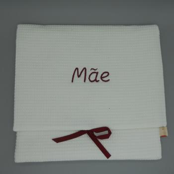 "ref.050808-EB-B720 - Bolsa de lingerie em favo branco - ""Mãe"" - bordado bordeaux"