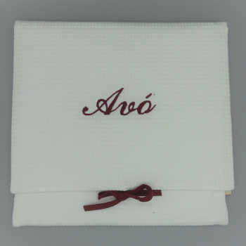 "code 050808-EB-B722-White waffle lingerie purse - ""Avó""/""Grandmother"" - bordeaux embroidery"