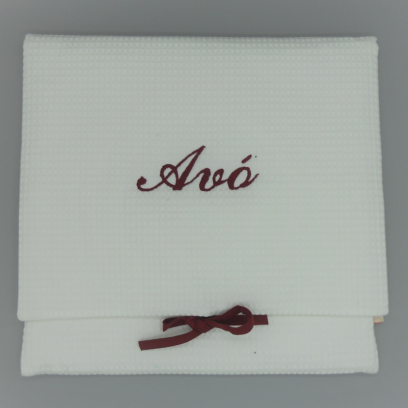 "code 050808-EB-B722-White waffle lingerie purse - ""Avó""/""Grandmother"" - bordeaux embroidery"
