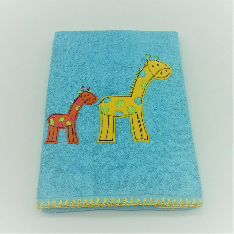 code 050010-TR-AT- Hand towel 50x100 - giraffe - turquoise blue