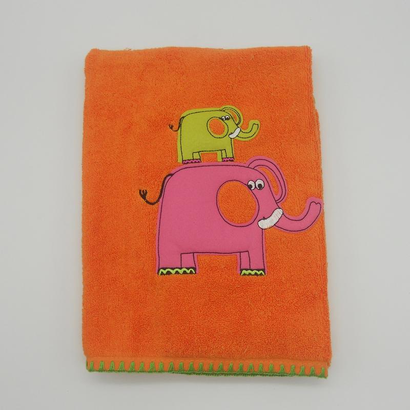 ref.050009-TR-LA - Toalha de rosto 50x100 - elefante - laranja