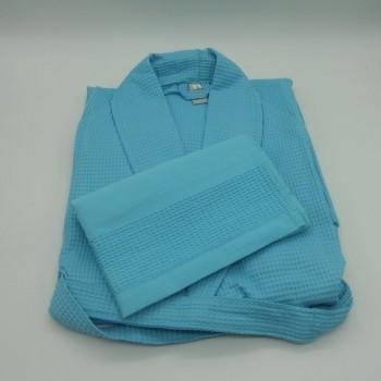 ref.050840-AT-S - Conjunto de Robe S e toalha de rosto em piqué - azul turquesa