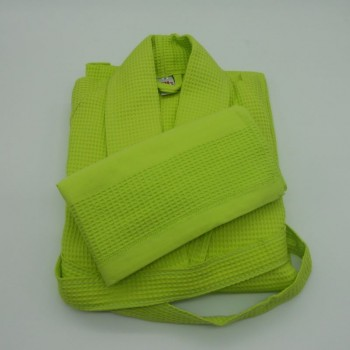 ref.050840-VP-S - Waffle shawl S robe and matching towel set - pistachio green