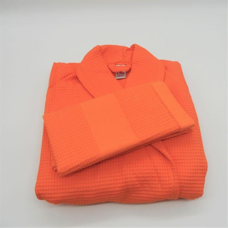 code 050840-LA-S - Waffle shawl S robe and matching towel set - orange