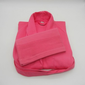 050840-RP-S - Waffle shawl S robe and matching towel set - pink