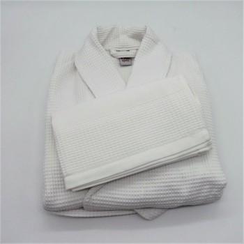 ref.code 050840-BR-XL - Robe XL e toalha de rosto em piqué - branco