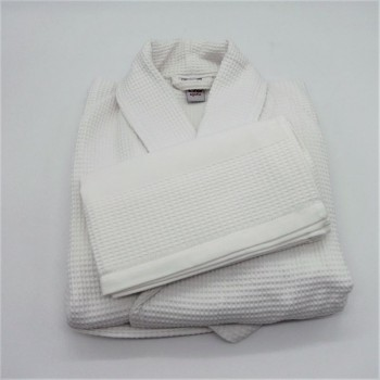 code 050840-BR-XL - Waffle shawl XL robe and matching towel set - white