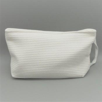 ref.050809-BR - Bolsa de toilette em piqué  - E - branco
