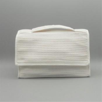 ref.050810-BR - Bolsa de toilette em piqué  - D - branco