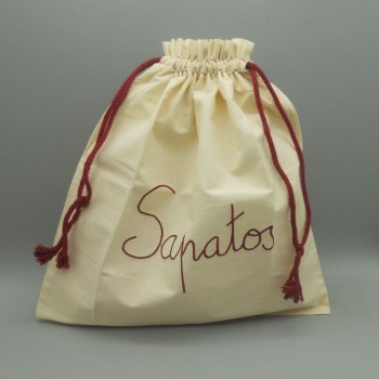 "code 050806-EB-B744 - Raw cloth drawstring bag "" Sapatos"" /""Shoes"" - bordeaux embroidery"