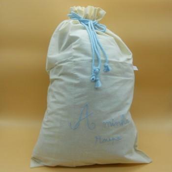 """ref.050819-AC-Saco para roupa """" A minha roupa"""" em pano cru - bordado azul claro"""