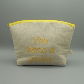 "code 050803-Am-B740-Beach linen toilet purse - ""Vou para a praia""/ ""I am going to the beach"""