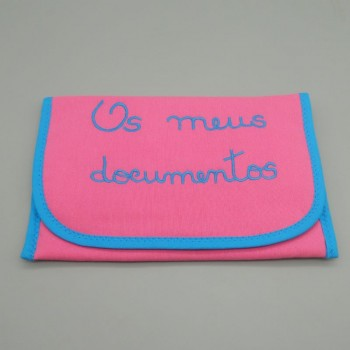 "code 050814-RP-AT-Pink fustian documents purse - ""Os meus documentos""/""My documents"" - turquoise blue embroidery"