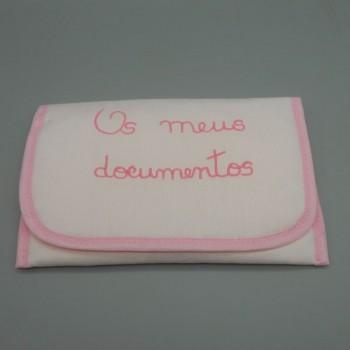 """ref.050815-RC-RC- Bolsa """"Os meus documentos"""" em fustão rosa claro"""