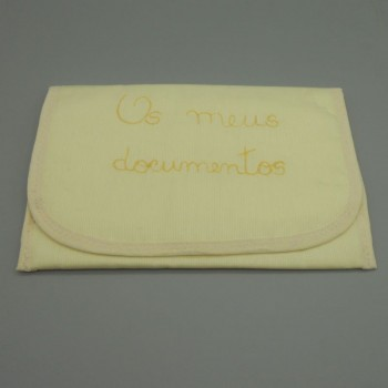 "code 050815-AM-AM-  Yellow fustian documents purse - ""Os meus documentos""/""My documents"""