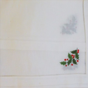 "code 050479-BR-45X150 - Christmas white table runner - Azevinho/""Holly"""