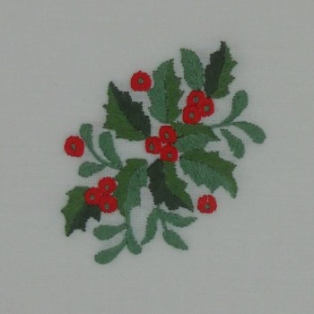 """code 050469-BR-40X40 - Napkin """"Azevinho duplo""""/""""Double Holly"""" - embroidery detail"""