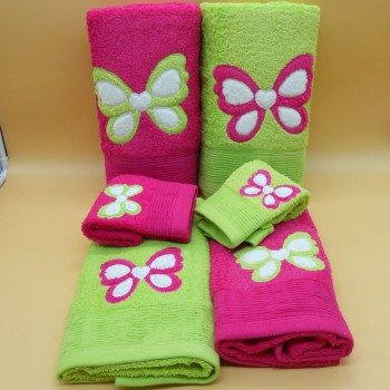 code 050214-6PC-RP-VP -  Bathtowel set (6Pc) - Butterfly