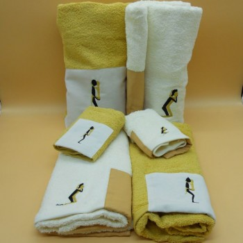 code 050217-6Pc-CA - Bathtowel set  (6 Pc) - Kamasutra 2 - Camel