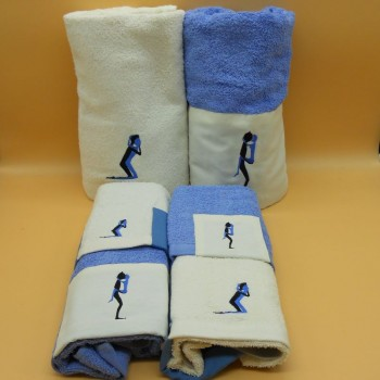 code 050217-6Pc-AZ - Bathtowel set (6Pc) - Kamasutra 2 - Blue