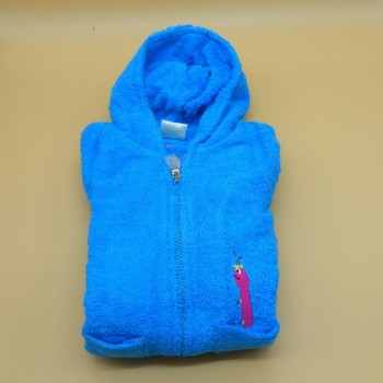 "code 050830-AT-8A - Hooded Bathrobe -  ""Minhoca""/""Earthworm"" -  Turqoise blue  - 8 years"