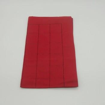 ref.050467-ES-50X170 - Corredor de mesa com quadrados - Encarnado Sangue