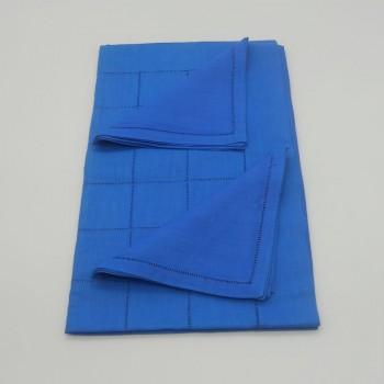 ref.050467-AZ-50x170/40x40-2 - Conjunto de corredor de mesa com quadrados e 2 guardanapos - Azul