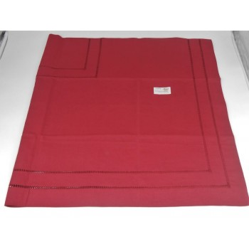 code 050474-ES-110X110 - Quadruple hemstitch table towel - Blood Red