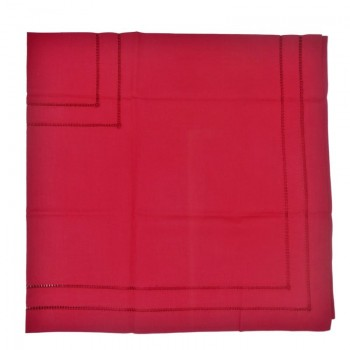 code 050474-ES-110X110 - Quadruple hemstitch table towel - Blood Red
