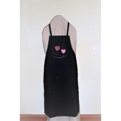 code 050425-PR-P11 - Black bib apron - hearts and brunches