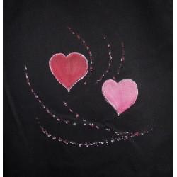 ref.050425-PR-P11 - Avental de peitilho preto - corações com ramos - detalhe