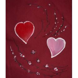 ref. 050426-M-EB-P11 -Avental de peitilho bordeaux - corações com ramos - detalhe