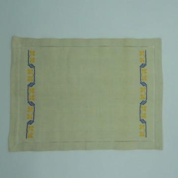 ref.050485 - Pano de tabuleiro - Ponto de Cruz Trevo Azul/Amarelo