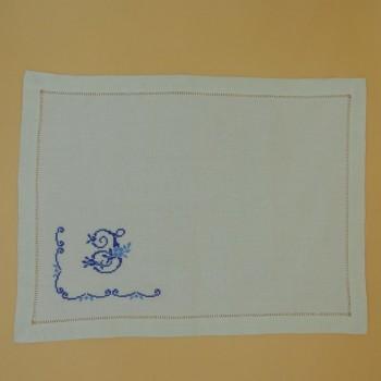 ref.050487 - Pano de tabuleiro - Ponto de Cruz Inicial Azul - J