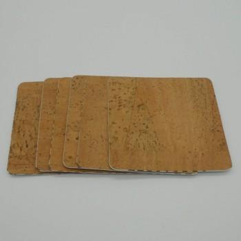 ref.071000-Q - Base quadrada para copos em pele de cortiça- conjunto de 6