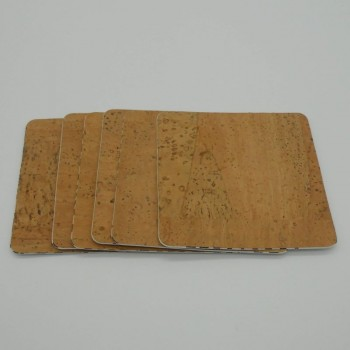 code 071000-Q - Leather cork square coaster - set of 6