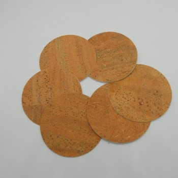 code 071000-R - Leather cork round coaster - set of 6