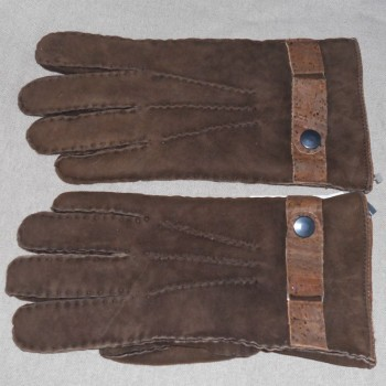 code 071818-N-8_1-2 - Suede men's gloves  - cappuccino - nº 8,5