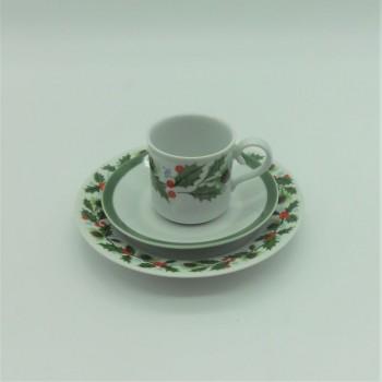 ref.615258/615254-Conjunto de chávena de café e pires com prato de doce - Azevinho