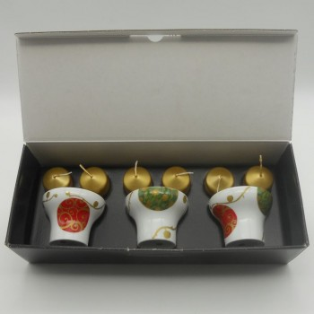 ref.615759D - Castiçal Gold Christmas - conjunto de 3