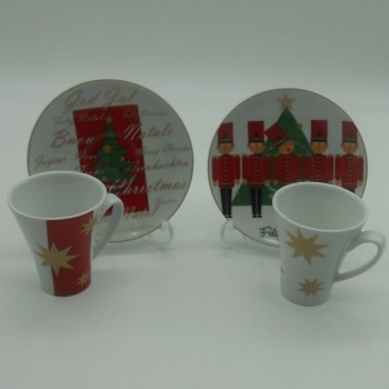 code 800420-A- Set of 2 different Christmas Coffeecup and Saucer  sets - Natalícia A