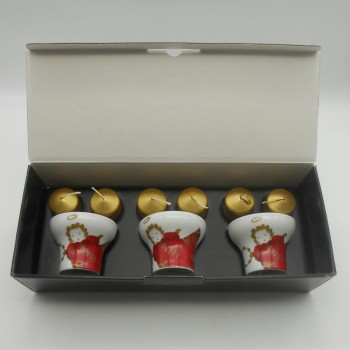 "code 615759D-AJS - Candlestick - Anjos Gold Christmas/""Gold Christmas Angels"" - set of 3"