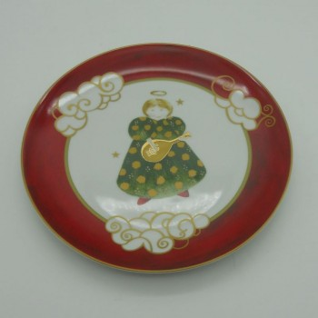 "code 615753-AJS - Dessert plate - Anjos Gold Christmas/""Gold Christmas Angels"""
