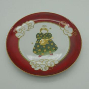 ref.615753-AJS - Prato de sobremesa Anjos Gold Christmas