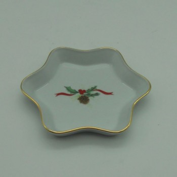 code 150071D-E - Ashtray  - Star - Christmas Holly
